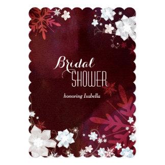 Merlot + White Rustic Floral Winter Bridal Shower Card