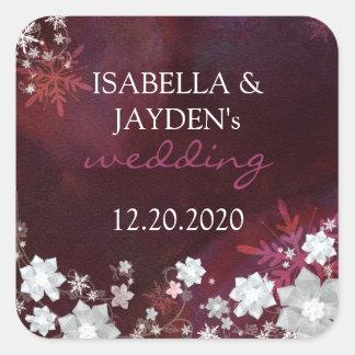 Merlot White Trendy Winter Glitter Wedding Sticker
