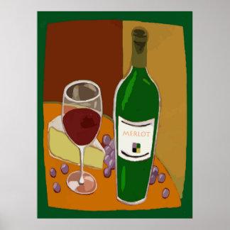 Merlot Wine Bottle Poster