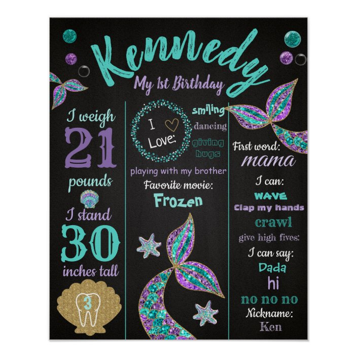 Printable Personalized Under the Sea Girl First Birthday Welcome Sign Mermaid Milestone Birthday Poster Board