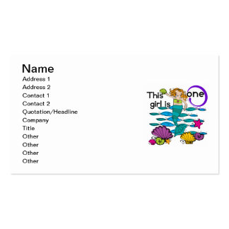 Mermaid 1st Birthday Tshirts and Gifts Double-Sided Standard Business Cards (Pack Of 100)
