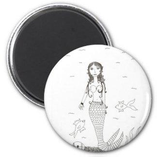 Mermaid 2 Inch Round Magnet