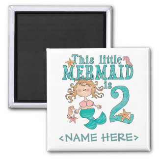 Mermaid 2nd Birthday Fridge Magnets