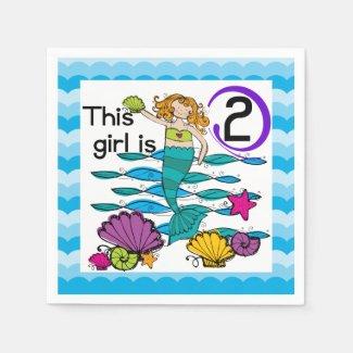 Mermaid 2nd Birthday Paper Napkins