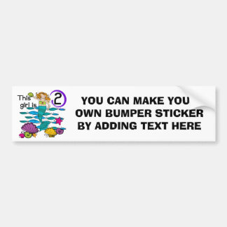 Mermaid 2nd Birthday Tshirts and Gifts Bumper Sticker