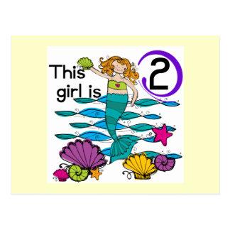 Mermaid 2nd Birthday Tshirts and Gifts Post Card