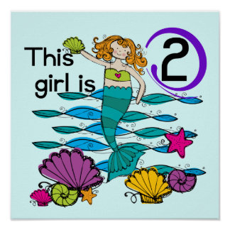 Mermaid 2nd Birthday Tshirts and Gifts Poster