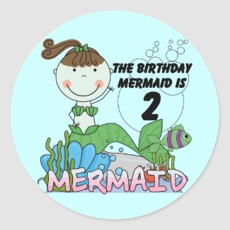 Mermaid 2nd Birthday Tshirts and Gifts sticker