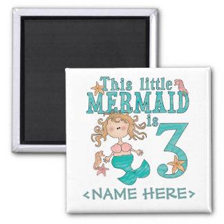 Mermaid 3rd Birthday 2 Inch Square Magnet