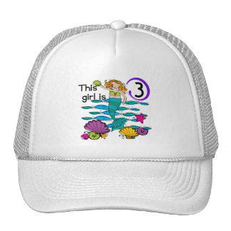 Mermaid 3rd Birthday T shirts and Gifts Trucker Hat