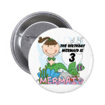 Mermaid 3rd Birthday Tshirts and Gifts Button