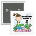 Mermaid 3rd Birthday Tshirts and Gifts Pin