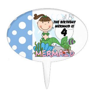 Mermaid 4th Birthday Cake Topper