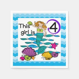 Mermaid 4th Birthday Paper Napkins