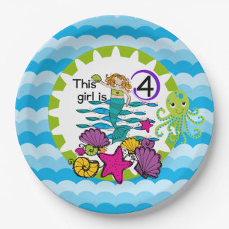 Mermaid 4th Birthday Paper Plates 9 Inch Paper Plate