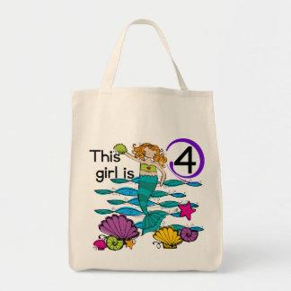 Mermaid 4th Birthday Tshirts and Gifts Bag