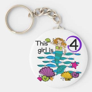 Mermaid 4th Birthday Tshirts and Gifts Keychain