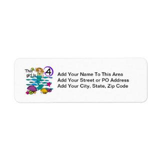 Mermaid 4th Birthday Tshirts and Gifts Return Address Label