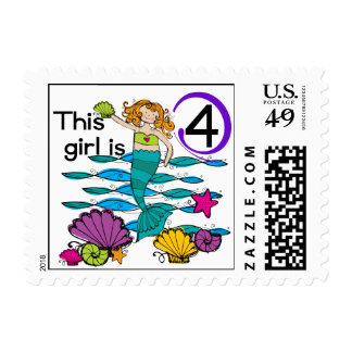 Mermaid 4th Birthday Tshirts and Gifts Stamps
