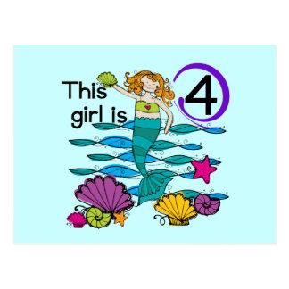 Mermaid 4th Birthday Tshirts and Gifts Postcard