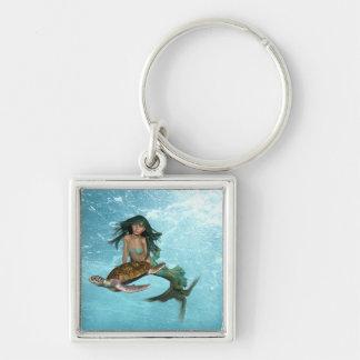 mermaid-55.jpg Silver-Colored square keychain