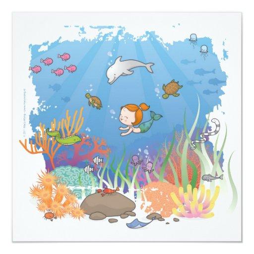 "Mermaid 5.25"" Square Invitation Card"