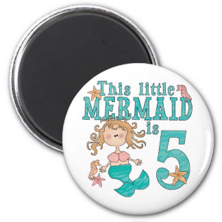 Mermaid 5th Birthday Magnets