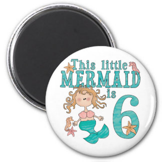 Mermaid 6th Birthday Refrigerator Magnets