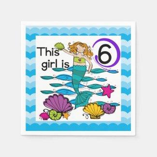 Mermaid 6th Birthday Paper Napkins