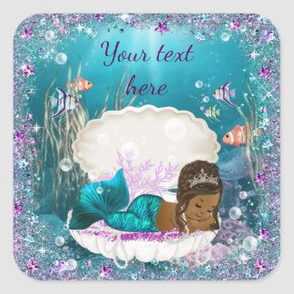 Mermaid African American Girl Baby Shower Stickers