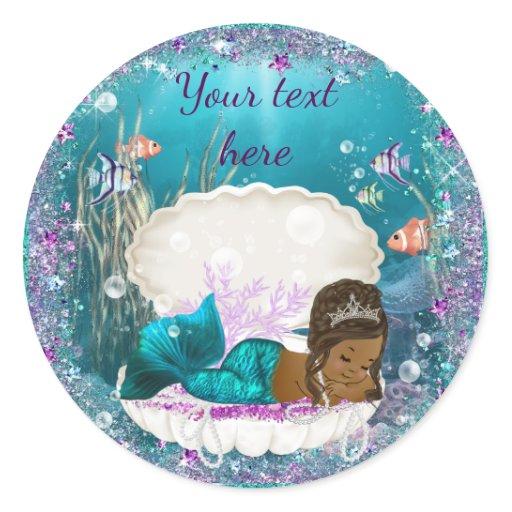Mermaid African American Girl Baby Shower Stickers