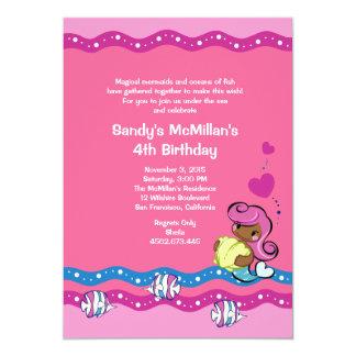 Mermaid - African American Girl Birthday Invite