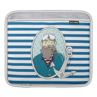 Mermaid and Anchor Blue and White Stripe iPad Sleeve
