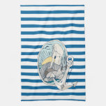 Mermaid and Anchor Blue and White Stripe Towel