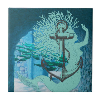 Mermaid and Anchor Tile