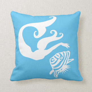 mermaid  and angel fish White on  blue pillow