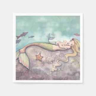 Mermaid and Baby Baby Shower Napkins