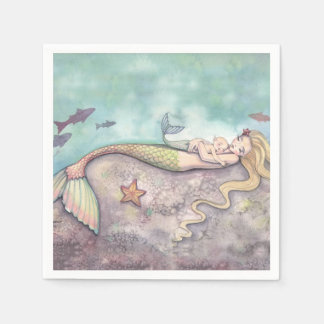 Mermaid and Baby Baby Shower Napkins Disposable Napkins