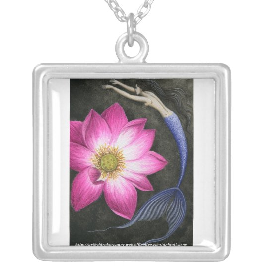 Mermaid and Big Pink Lotus Silver Plated Necklace