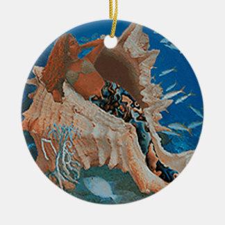 Mermaid and Big Seashell Ceramic Ornament
