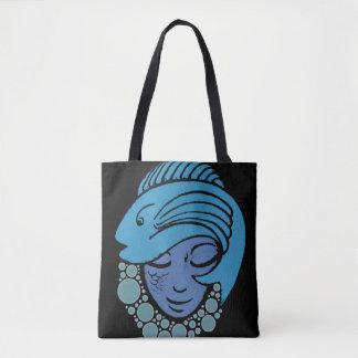 Mermaid and Blue Fish Tote Bag