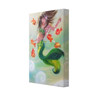 Mermaid and Dancing Fish Canvas Print