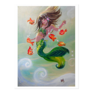 mermaid and dancing fish postcard