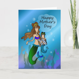 Mermaid and daughter Mother's Day Card