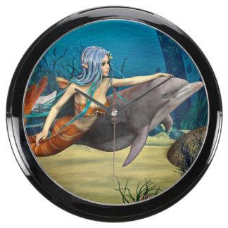 Mermaid and Dolphin Aquarium Clock