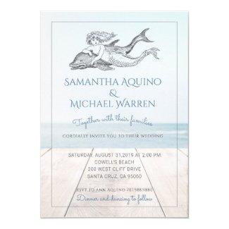 Mermaid And Dolphin Beach Wedding Invitation