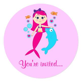 Mermaid and Dolphin Birthday Party Invitation