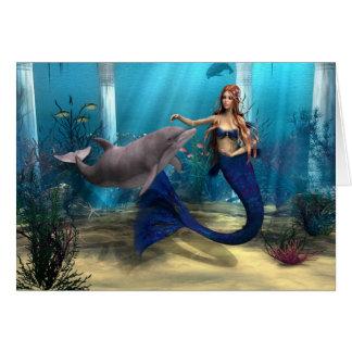 Mermaid and Dolphin Card