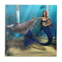 Mermaid and Dolphin Ceramic Tile