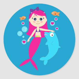 Mermaid and Dolphin Classic Round Sticker
